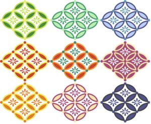 四つ繋ぎ七宝 小花